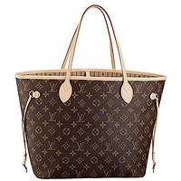 LV Louis Vuitton Neverfull MM Monogram Canvas Handbag Shoulder Bag Tote Purse
