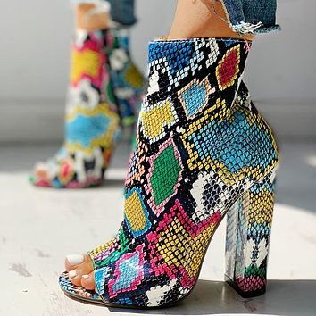 New summer 2020 snake pattern High heel Thick heel Fish mouth Sandals Sandals green shoes