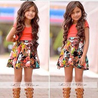 Beautiful Children Clothing Sets Summer Girl Dress Skirt Suit Kids Clothes Dress For Baby Girls