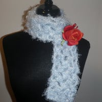 baby blue vegan friendly scarflette with red detachable rose