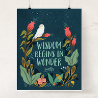 Wisdom Begins In Wonder wall art print Philosophy poster Socrates quote Nature Woodland art Boho decor Illustration kids room White Owl