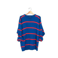 Vintage boyfriend sweater. Loose knit slouchy sweater. Striped cotton pullover. Oversized sweater.