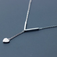 """Personalized  """"V"""" shape and heart' pendant 925 sterling silver necklace, a perfect gift"""