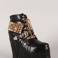 Privileged Vengeance Studded Pyramid Chain Lace Up Wedge Sneaker