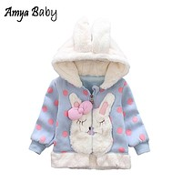 AmyaBbay 2018 Autumn Winter Jacket For Baby Girl Long Sleeve Dot Newborn Baby Coat Cartoon Rabbit Infant Girl Hooded Outerwear