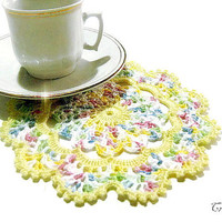 Small Crochet Doily, Yellow and Pastel Colors Crochet Doily, Crochet Coaster, Yellow Coaster, Centrino Piccolo Giallo (Cod. 78)