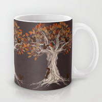 Little Visitors - Autumn tree illustration with squirrels Mug by micklyn