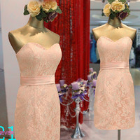 Elegant Modest Sexy Pink Lace Sweetheart 2014 Sheath Lace Prom Homecoming Dresses Affordable Simple Bridesmaid Dress Short Lace Dress