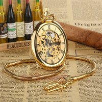 New Steampunk Retro Archaize Rome Num Copper Skeleton Mechanical Pocket Watch Hand Winding Antique FOB Chain Men Women Gift P286