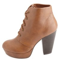 Chunky Heel Lace-Up Platform Booties by Charlotte Russe - Cognac