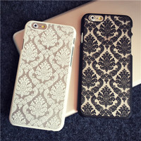 Phone Case Back Cover for Apple iphone 6 for Apple iphone 6S Plus Transparent Hybrid Damask Vintage Flower Pattern Luxury