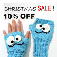 Blue Crazy Hand Knit / Fingerless Gloves / Light Blue Color / Boys and Girls / Winter Fashion  / Size M - S