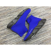 Balenciaga Speed In Blue Knit And Black Sole Unit Trainers