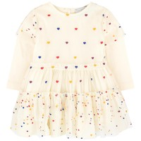 Stella McCartney Baby Girls Ivory 'Karina' Tulle Dress with Hearts