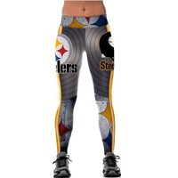 ONETOW Unisex Pittsburgh Steelers Logo Fitness Leggings Elastic Fiber Hiphop Party Cheerleader Rooter Workout Pants Trousers Dropship