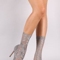 Semi Sheer Floral Lace Stiletto Booties