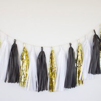 Black, White and Gold Tassel Garland - Gold Party Decor, Gatsby Decoration, Photoshoot, Wedding Decor, Glam Decor, Baby Shower