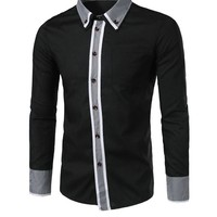 Casual Contrast Gingham Trim Men Shirt With Button Down Collar