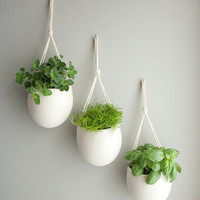set of 3 medium porcelain and cotton rope hanging by farrahsit