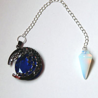 Opalite Pendulum with Moon; Includes Altar Mat