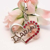 Red Heart I love you Cell Phone Charm Strap Rhine Stone