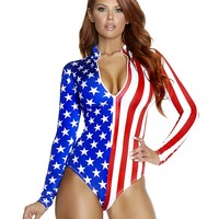 Star Spangled Flag Long Sleeve Bodysuit Costume