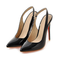 Plus Large Size Summer Office Women Pumps Thin High Heels Stiletto Ponited Toe Slingback Patent Leather Party Dress Ladies Shoes