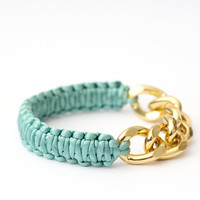 Original Silky cobra bracelet with chunky gold chain, mint, knot bracelet, wedding  gift, tie the knot, nautical bracelet