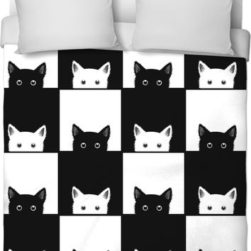 Black and White Cat Checkers Duvet Cover