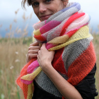 Knitted, huge cloth with stripes . foulard . kid mohair / silk blend. SILK BLOCK LUX . soleil . handcrafted from Berlin