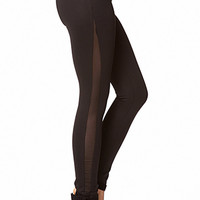 FOREVER 21 Mesh Panel Scuba Leggings Black X-Small