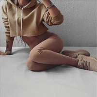 Sexy Women Fashion Crop Top Hoodies Sweater Long Sleeve Sweatshirt Casual Tops S-XL [8833911948]