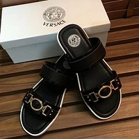 Versace New fashion summer metal slippers sandals shoes Black