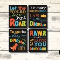 """Dinosaur Quote Typography Set of 4 Print, 8x10"""", Instant Download, Child Nursery Wall Art, Dinosaur Party Printables, Playroom Decoration"""