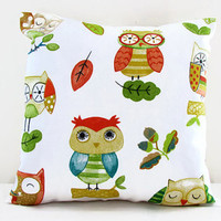 Owl print cushion cover , small 12 inch pillow cover perfect kid's room decor , small throw pillow , handmade in the UK
