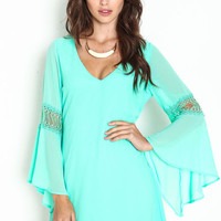 EMBROIDERED FLARE SHIFT DRESS