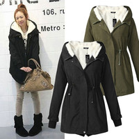 Army Jacket Womens Long Sleeve Thicken Fleece Hooded Parka Zipper Overcoat Winter Jackets Coat