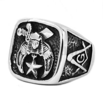 Shriner Silver Masonic Biker Ring