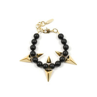Vicious Love Pearl & Double Sided Pyramid Bracelet - Gold/Black