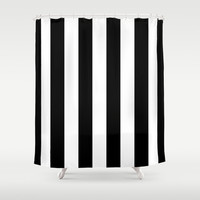 Stripe Black & White Vertical Shower Curtain by Beautiful Homes