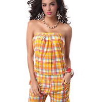 Yellow Plaid Strapless Romper with Pocket