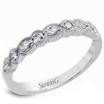 Simon G. Vintage Style Bezel Set Diamond Wedding Ring