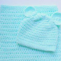 Mint Baby Cocoon And Hat With Ears 0 To 6 Month Infant  Girl Pastel Green  Bunting Set Newborn Boy Sleep Sack With  Beanie Cap