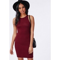 Missguided - Racer Bodycon Dress Burgundy