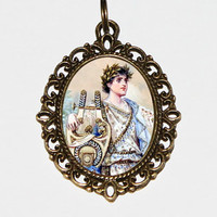 Orpheus Necklace, Greek Mythology, Father Of Songs, Lyre Jewelry, Oval Pendant