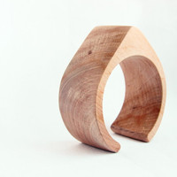 40 mm Wooden cuff unfinished drop shape - natural eco friendly TA40O
