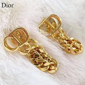 DIOR New fashion letter chain long earring  jewelry Golden