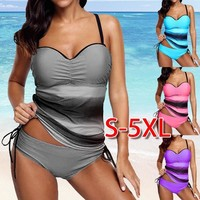 Tankini Sets With shorts 2018 Summer Women Two Pieces Swimwear Retro Print Bathing Suits Bikini Push Up Swimsuits Plus Size 5XL