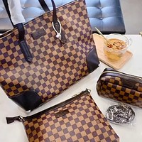 LV Simple Retro Checkerboard Wild Handbag Crossbody Bag Three-piece