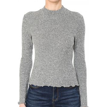 Fitted Ribbed Brushed Long Sleeve Mock Neck Top